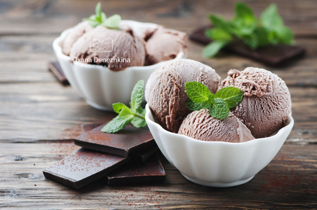 Sweet chocolate ice cream with mint